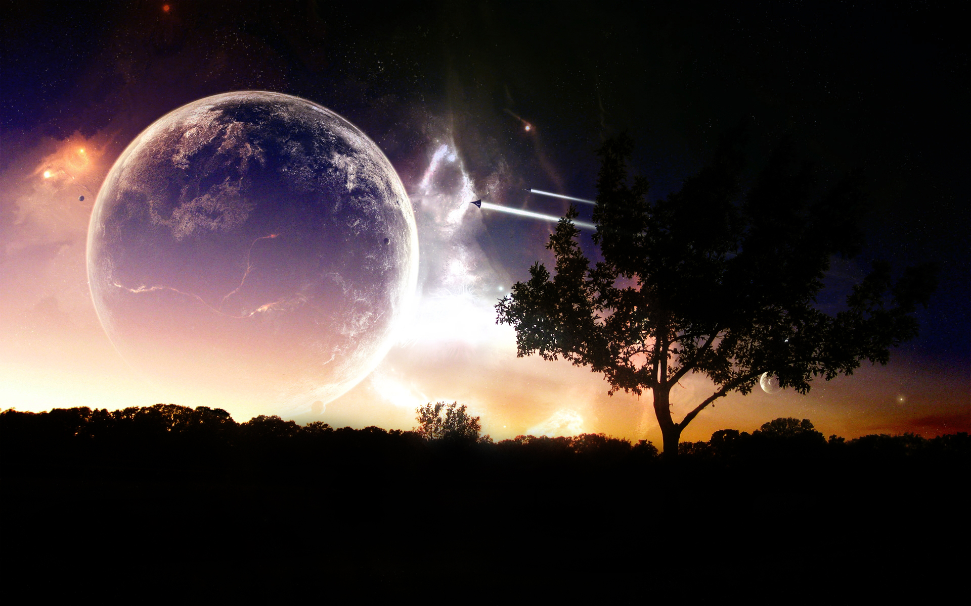Sci Fi - Planet Rise  Earth Tree Planet Spaceship Stars Atmosphere Wallpaper