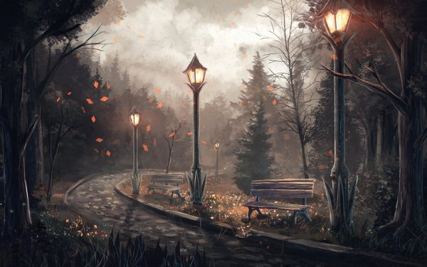 Artistic Pathway Light Tree Bench HD Wallpaper | Background Image