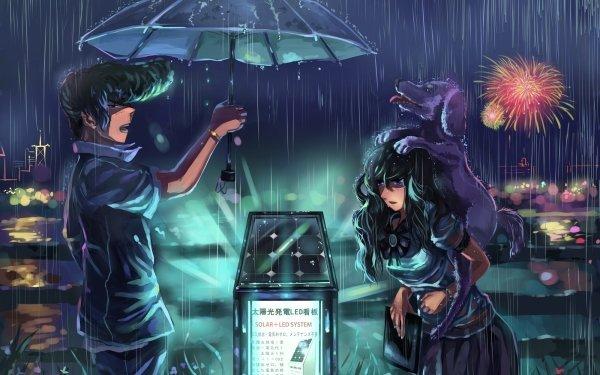 Anime Touhou Dog Rain Sanae Kochiya HD Wallpaper | Background Image