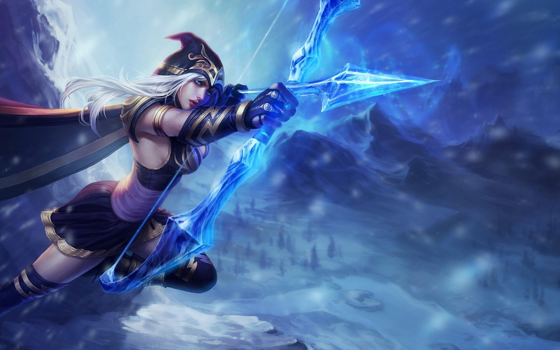 Video Game - League Of Legends  Ashe (League Of Legends) Fantasy Woman Warrior White Hair Archer Bow Arrow Wallpaper