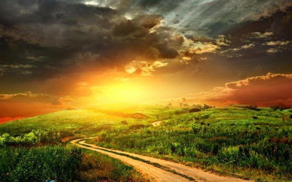 Artistic Sunset Path Landscape HD Wallpaper   Background Image