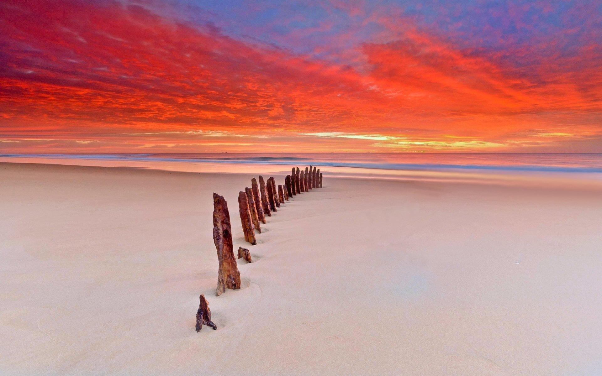 Earth - Scenic  Sand Sunset Horizon Sky Cloud Beach Nature Wallpaper