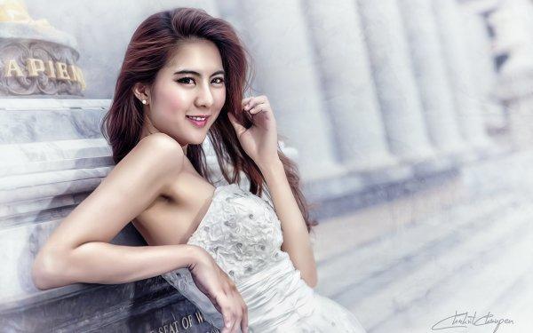 Mujeres Asiática Chica Woman Thai Smile Dress Monumento Oriental Fondo de pantalla HD | Fondo de Escritorio
