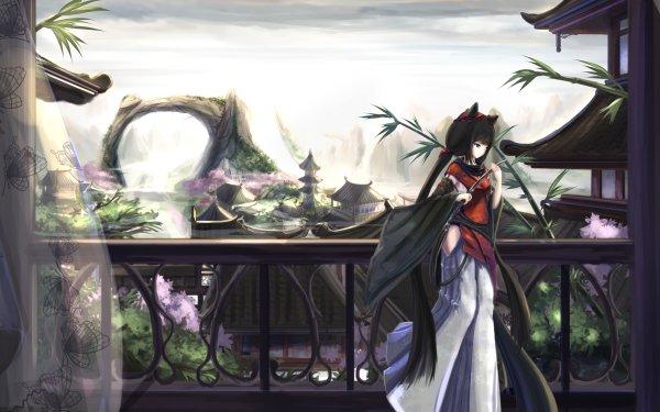Anime Original China Landscape Terrace Sword Blade HD Wallpaper | Background Image