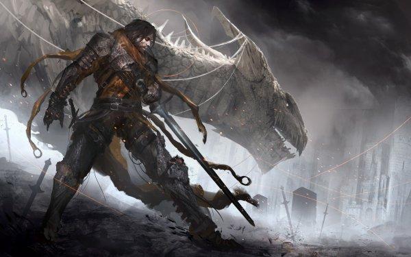 Fantasy Dragon Warrior Sword HD Wallpaper | Background Image