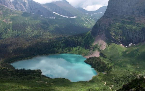 Earth Lake Lakes Glacier National Park Mountain Nature Valley Water HD Wallpaper   Background Image