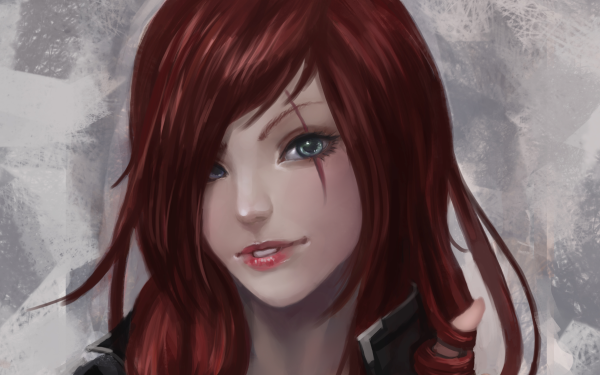 Video Game League Of Legends Katarina Green Eyes Scar HD Wallpaper | Background Image
