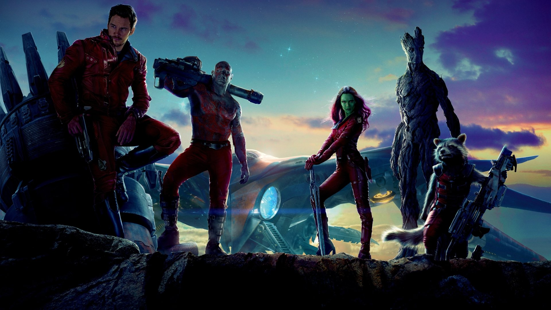 Films - Guardians of the Galaxy  Dave Bautista Zoe Saldana Chris Pratt Peter Quill Groot Drax The Destroyer Star Lord Gamora Rocket Raccoon Wallpaper