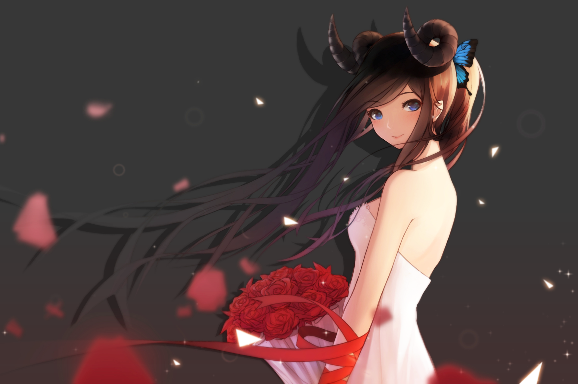 Anime - Original  Girl Rose Horns Dress Wallpaper