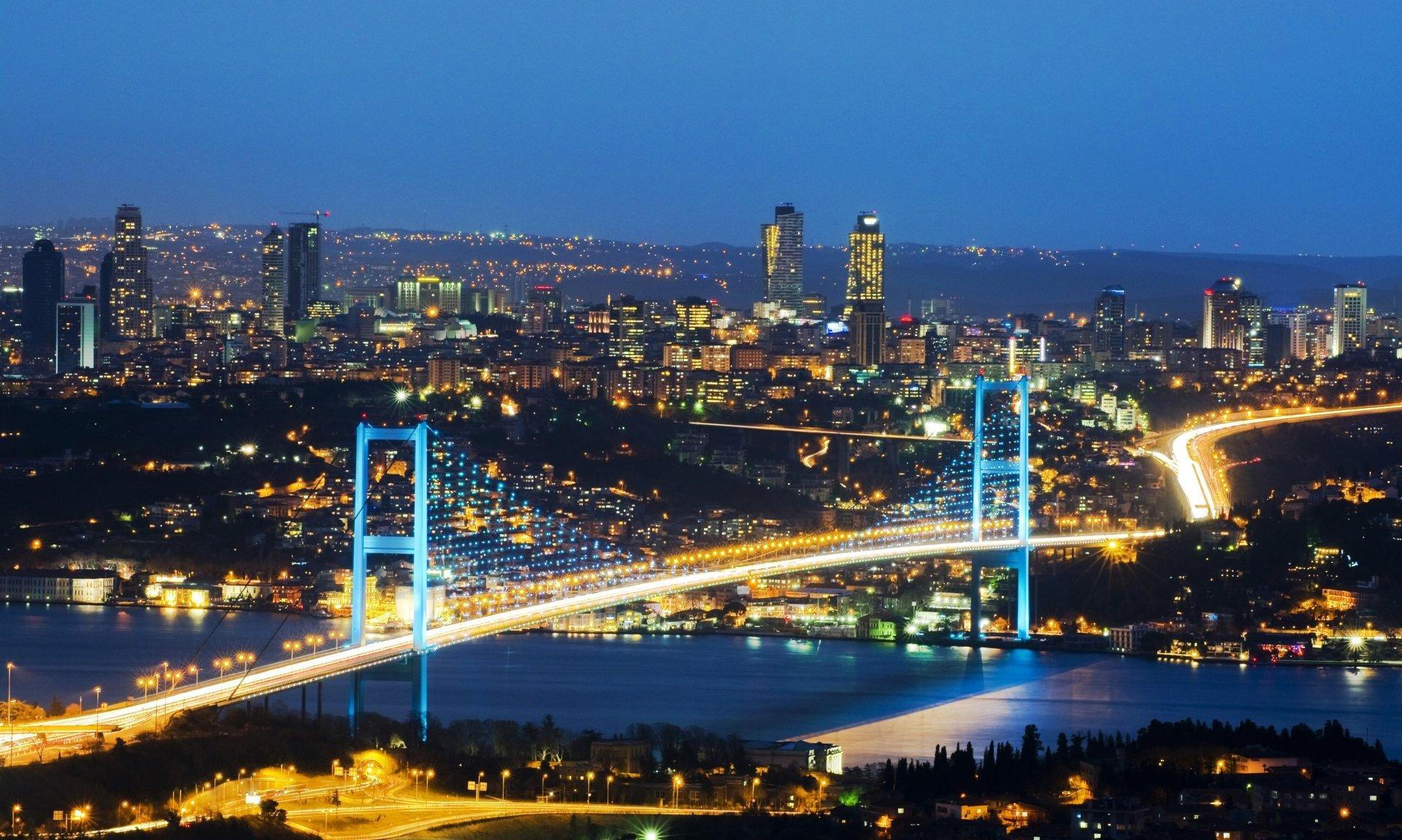 The night view of Bosphorus brudge 8k Ultra HD Wallpaper ...