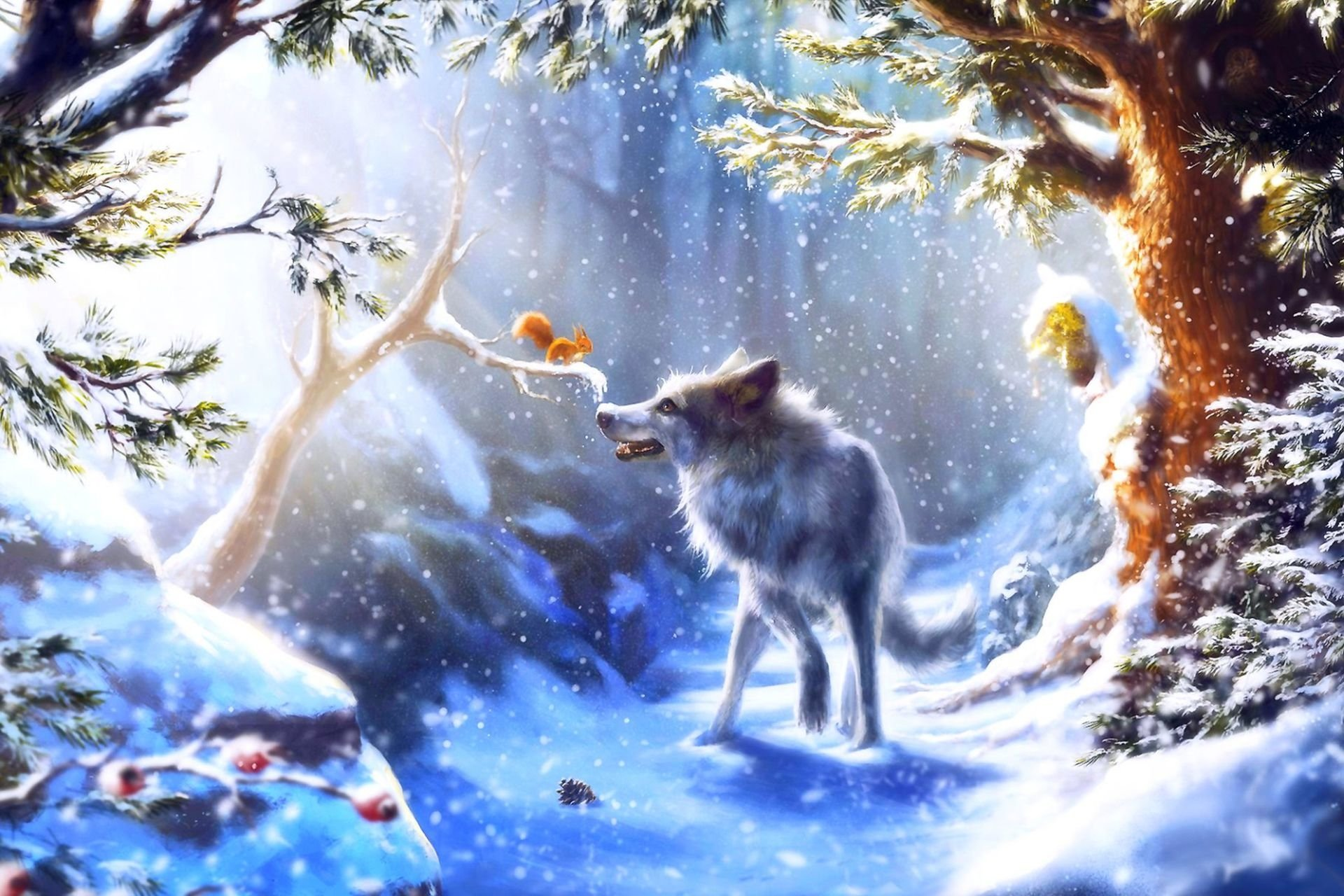 Animal - Wolf  Squirrel Forest Snow Artistic Winter Wallpaper