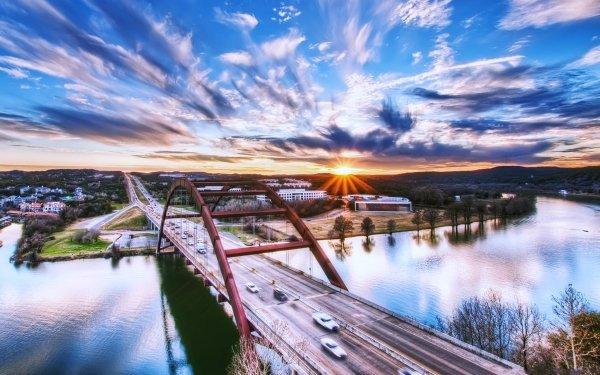 Man Made Bridge Bridges USA Texas River Road Sunset Highway Austin Pennybacker Bridge HD Wallpaper   Background Image
