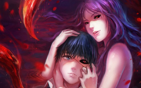 Anime Tokyo Ghoul Ken Kaneki Rize Kamishiro Red Eyes Blue Eyes Heterochromia Eye Patch Kagune HD Wallpaper | Background Image