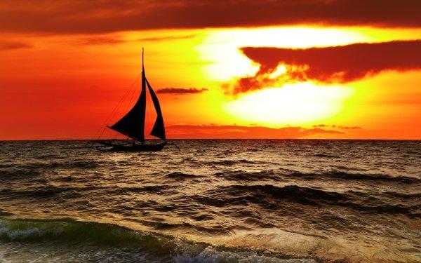 Photography Sunset Sailing Sea Ocean Sun Cloud orange Landscape Nature Boat HD Wallpaper | Background Image