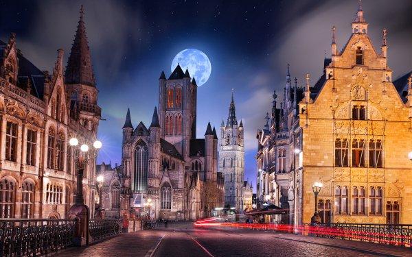 Hecho por el hombre Ghent Ciudades Bélgica Luna Iglesia Carretera Fondo de pantalla HD | Fondo de Escritorio