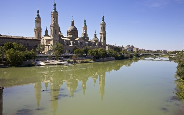 Religious Cathedral-Basilica of Our Lady of the Pillar Cathedrals Zaragoza Spain River Ebro River Cathedral HD Wallpaper | Background Image