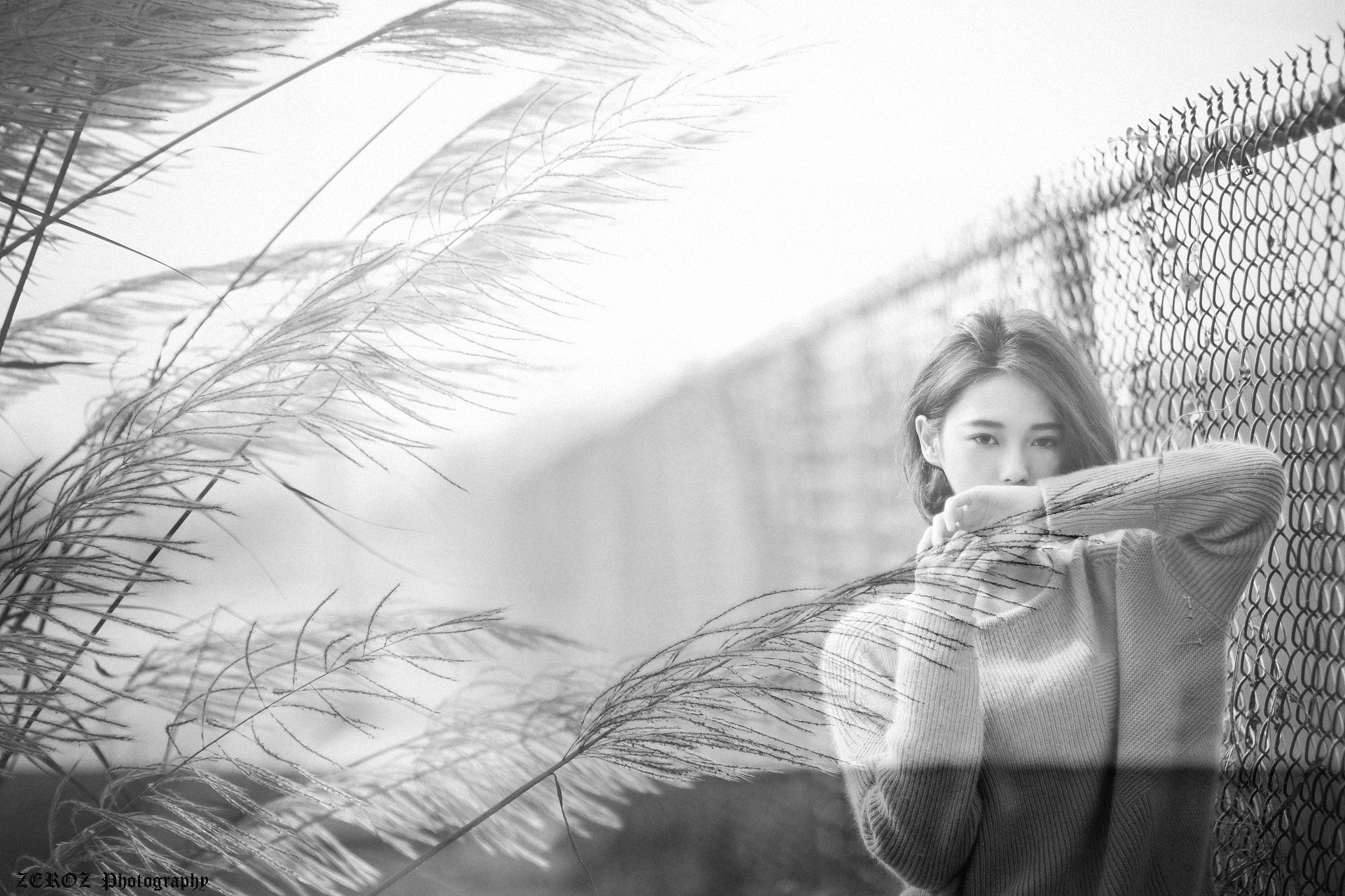 Women - Lín Yǔ  Black & White Taiwanese Asian Model Girl Wallpaper