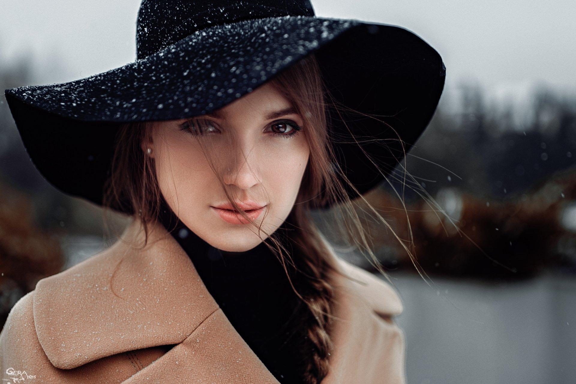 Women - Model  Woman Braid Hat Brunette Brown Eyes Wallpaper