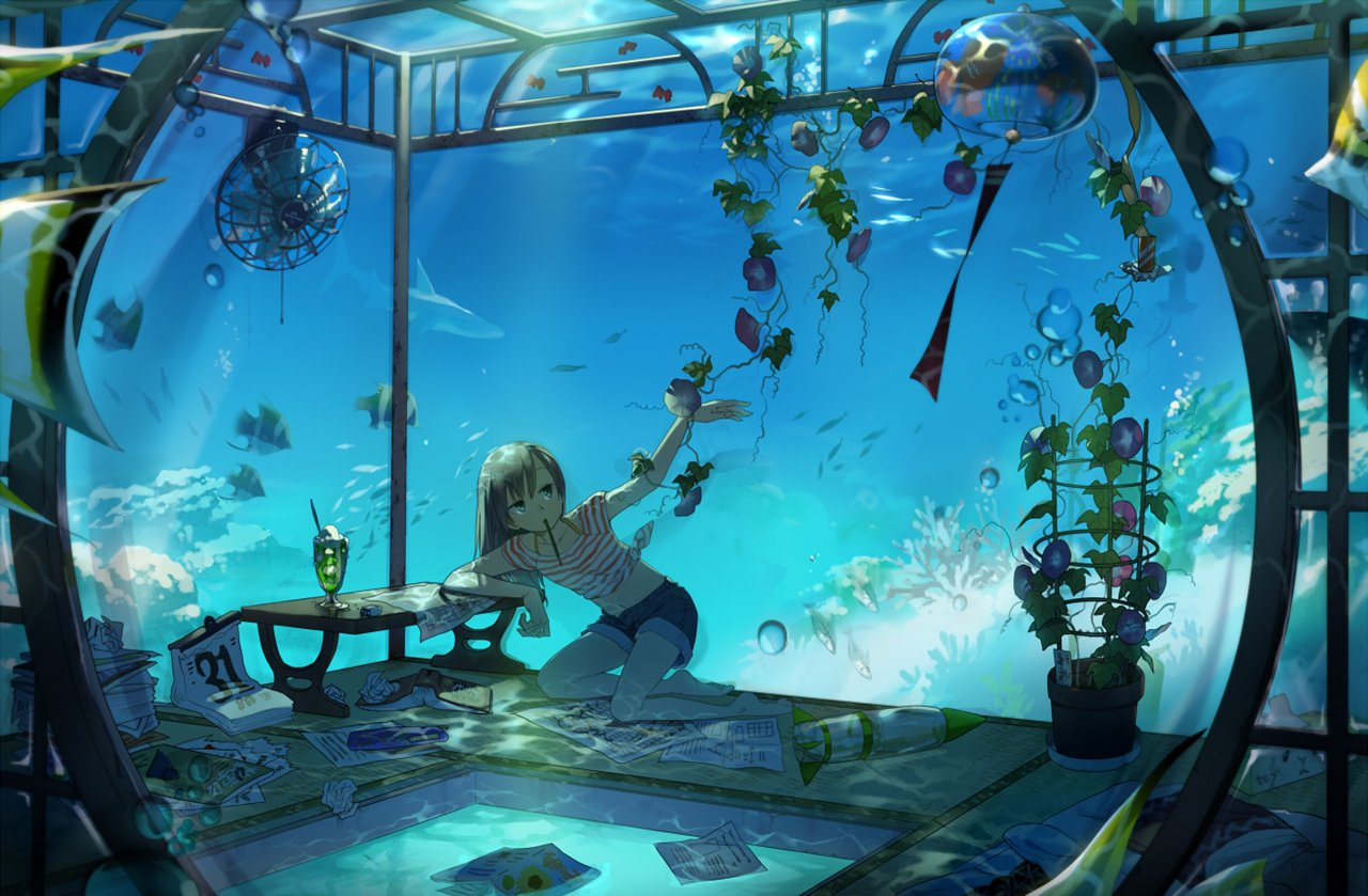 Anime - Original  Plant Fish Coral Shark Ocean Water Girl Underwater Wallpaper