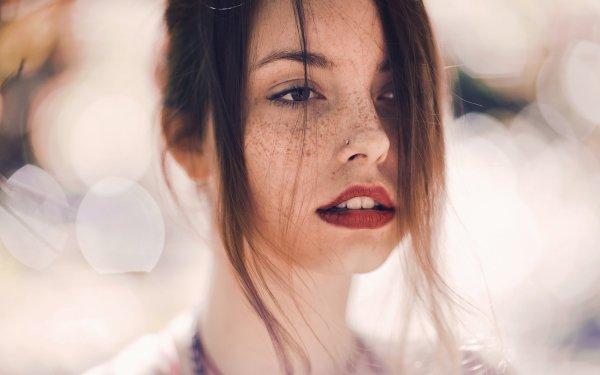 Women Face Bokeh Model Brunette Freckles Lipstick HD Wallpaper   Background Image