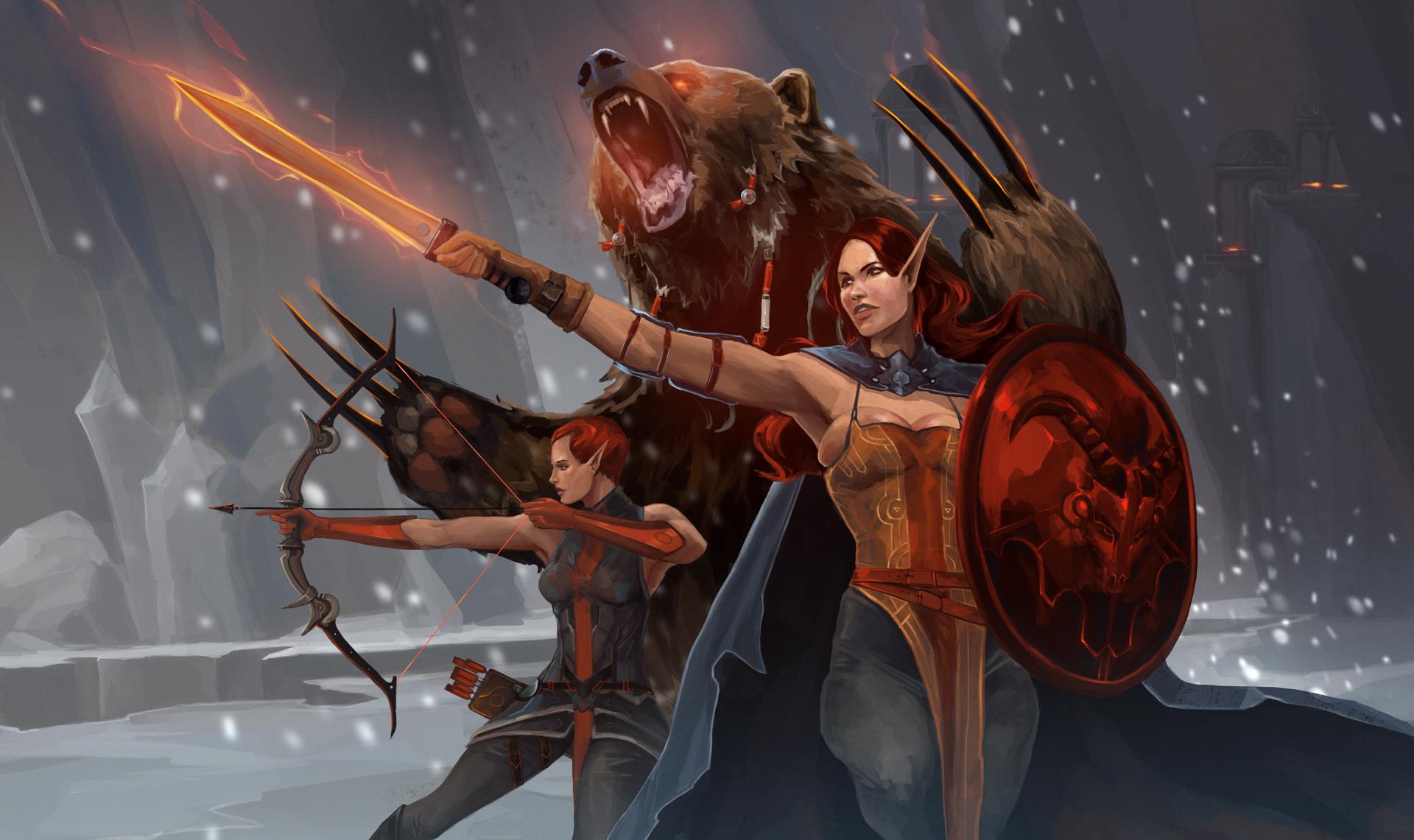 Archer Warrior Elves Fantasy Art Wallpapers Hd: Women Warrior HD Wallpaper