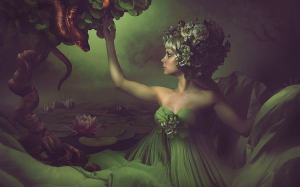 Photography Manipulation Garden Of Eden Apple Fantasy Woman Snake Water Lily HD Wallpaper   Background Image
