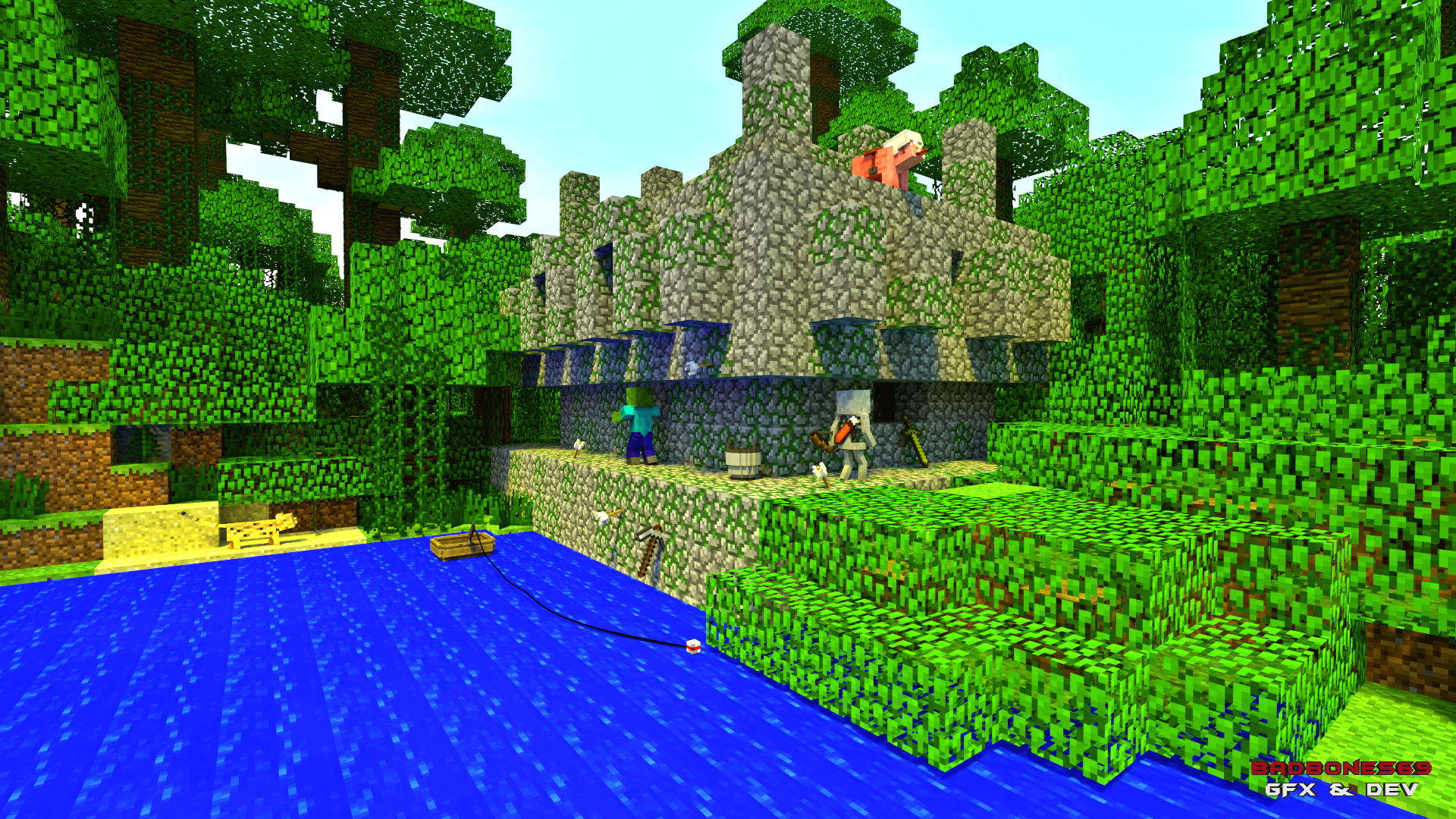 Jungle temple wallpaper full hd fond d 39 cran and arri re plan 1920x1080 id 615963 - Minecraft cochon ...