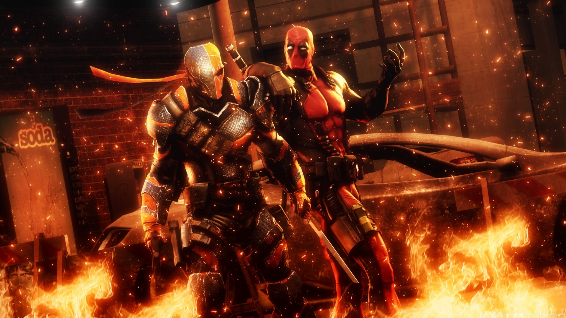 Deadpool Vs Deathstroke HD Wallpaper