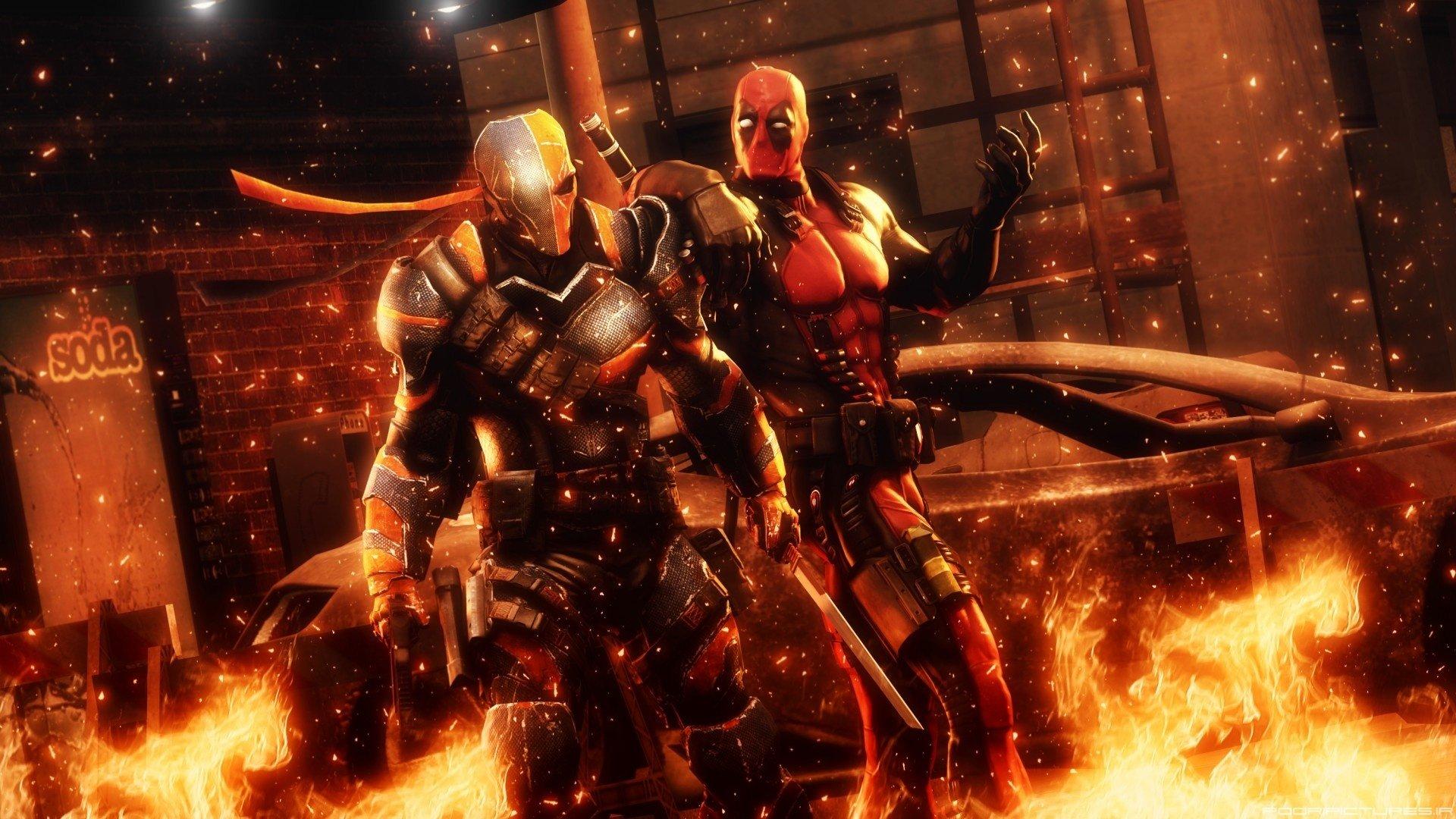 Deadpool Vs Deathstroke Full HD Wallpaper And Background Image