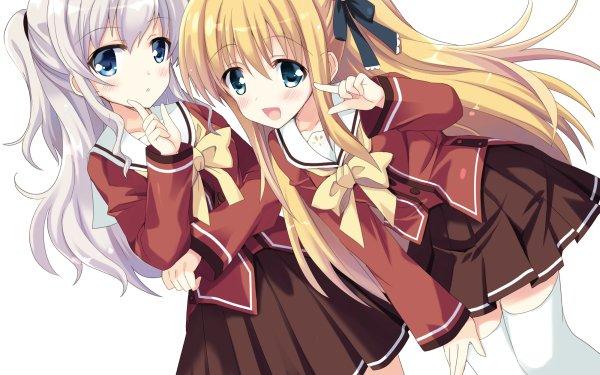 Anime Charlotte Nao Tomori Yusa Nishimori Blush Blonde White Hair Long Hair Blue Eyes Smile Skirt Thigh Highs bow HD Wallpaper | Background Image