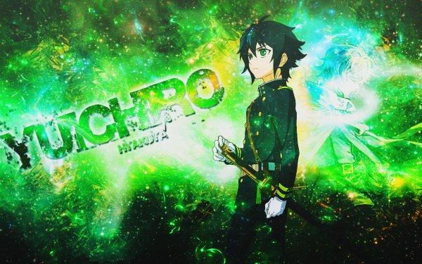 Anime Seraph of the End Yūichirō Hyakuya Weapon Sword Katana Glove Glow Green Eyes Black Hair Short Hair Belt Uniform Mikaela Hyakuya HD Wallpaper | Background Image