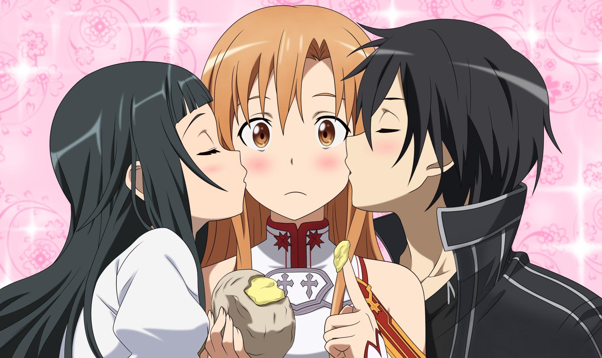 Anime - Sword Art Online  Kirito (Sword Art Online) Yui (Sword Art Online) Asuna Yuuki Wallpaper