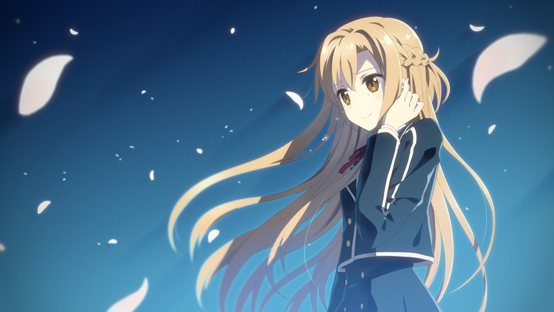Anime - Sword Art Online  Asuna Yuuki Sword Art Online II Anime Long Hair Blonde Brown Eyes School Uniform Petal Wallpaper