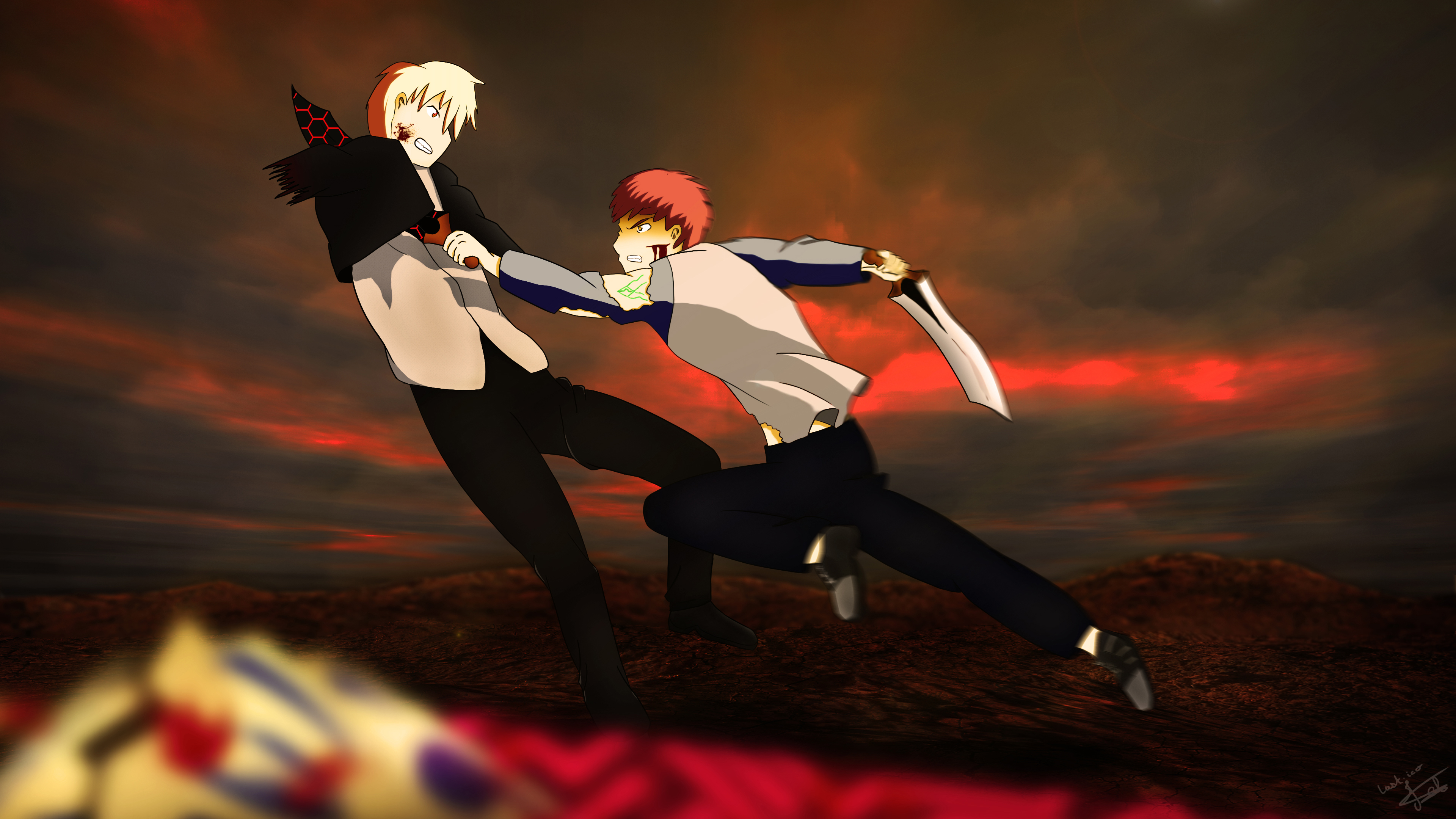Fate Stay Night Ubw Shirou Vs Gilgamesh 4k Ultra Hd Wallpaper