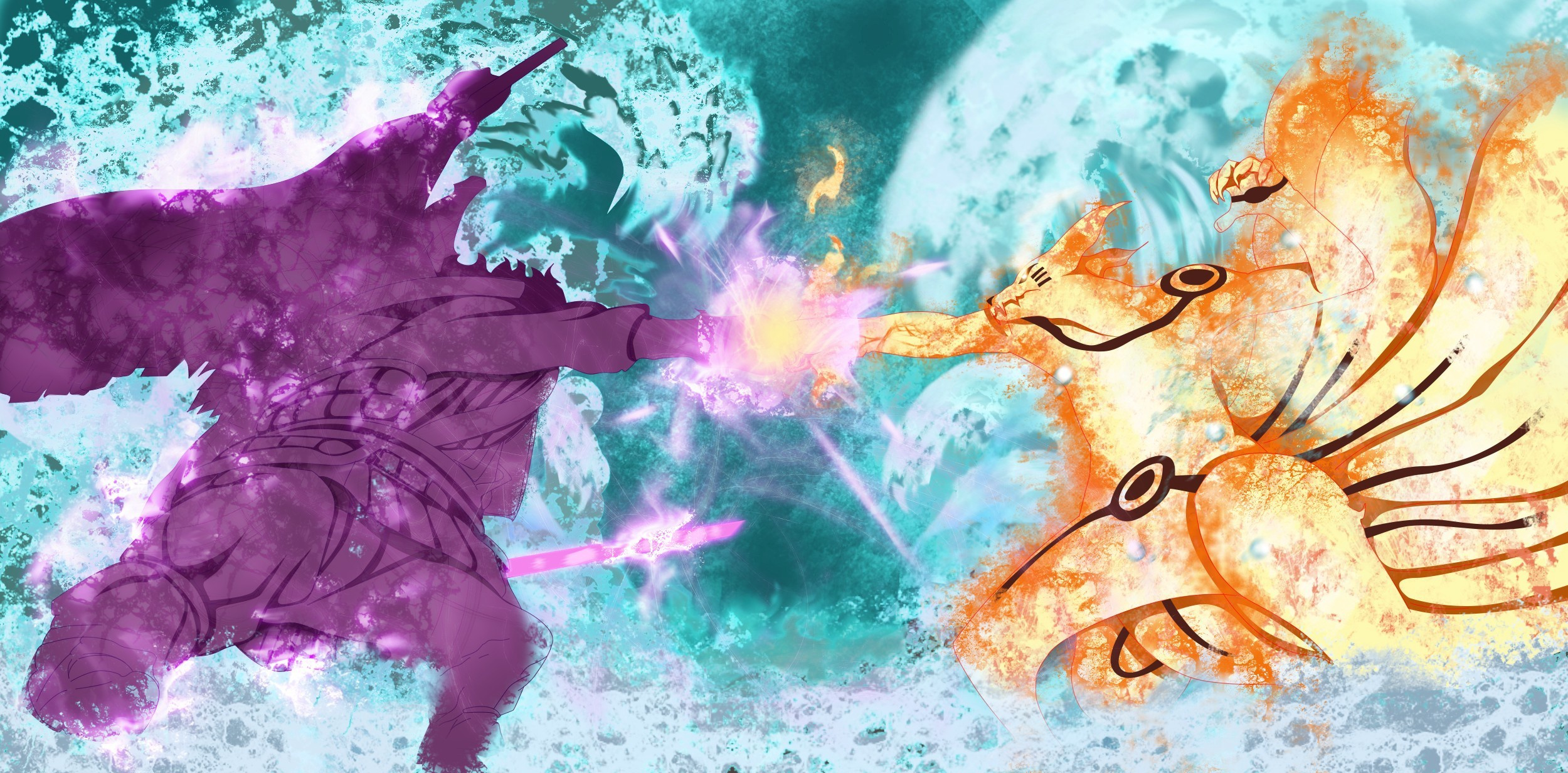 naruto vs sasuke hd wallpaper | background image | 2500x1232 | id