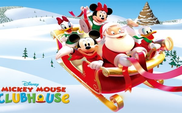 TV Show Mickey Mouse Clubhouse Mickey Mouse Santa Donald Duck Disney Christmas Sleigh Minnie Mouse Daisy Duck HD Wallpaper | Background Image