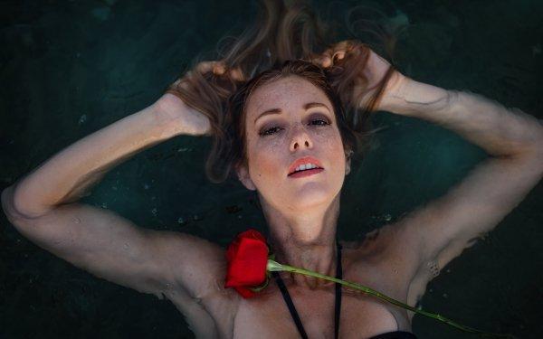 Women Model Models Woman Brunette Water Red Rose Freckles HD Wallpaper | Background Image