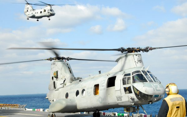 Military Boeing Vertol CH-46 Sea Knight Military Helicopters Marines Navy Helicopter HD Wallpaper | Background Image