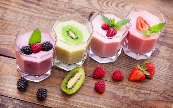 Food Smoothie Fruit Kiwi Berry Blackberry Raspberry Strawberry HD Wallpaper | Background Image