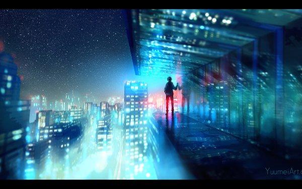 Anime Fisheye Placebo Cityscape Original HD Wallpaper   Background Image