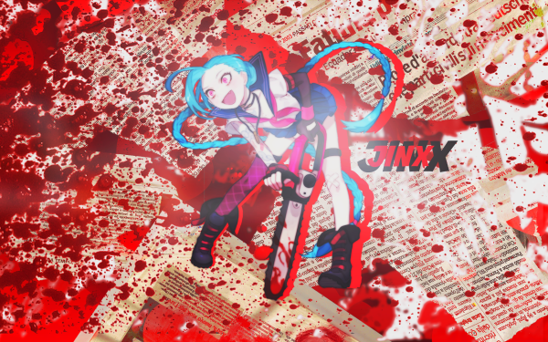 Video Game League Of Legends Jinx Girl Chainsaw Blood Anime School Uniform HD Wallpaper   Background Image