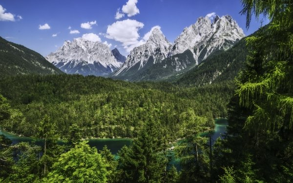 Earth Alps Mountain Mountains Alps Bavaria Germany Mountain Forest River Panorama HD Wallpaper | Background Image