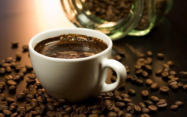Food Coffee Cup Coffee Beans HD Wallpaper   Background Image