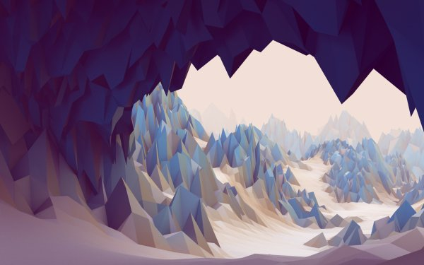 Abstract Artistic 3D CGI Snow Mountain Low Poly Landscape HD Wallpaper   Background Image