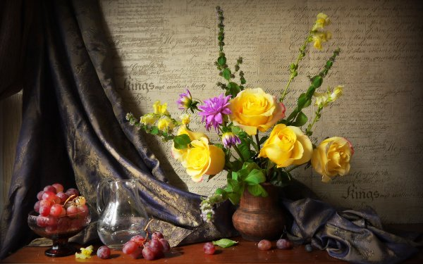 Photography Still Life Rose Grapes Yellow Flower HD Wallpaper | Background Image