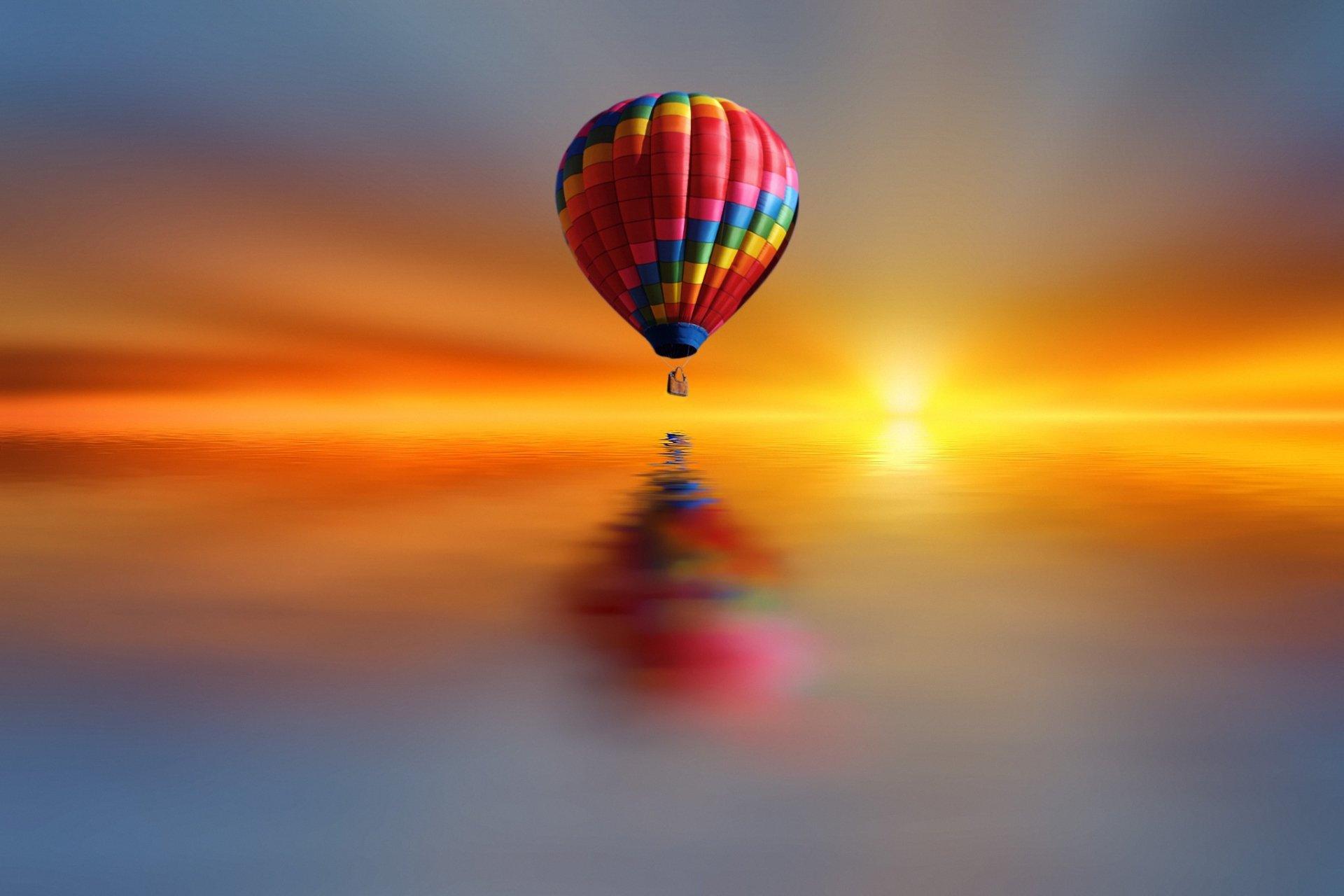 Vehicles - Hot Air Balloon  Reflection Sunset Wallpaper