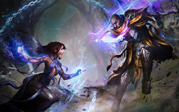 Fantaisie Bataille Magique Sorcier Magicienne Fond d'écran HD | Image