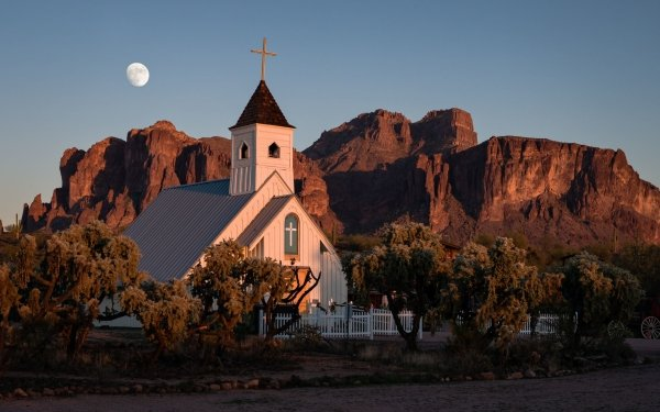 Religious Church Churches Moon Mountain Religion HD Wallpaper | Background Image