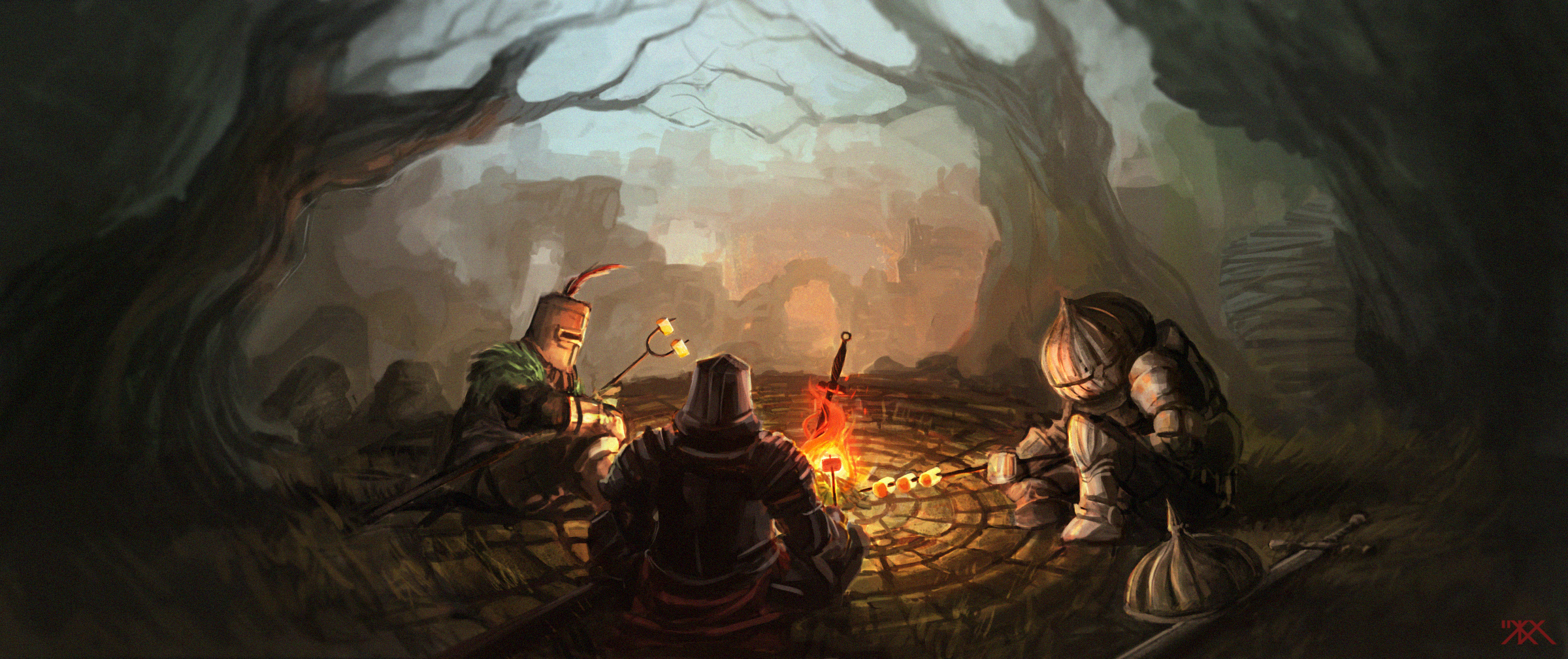 Around the bonfire wallpaper and background image - Dark souls hd wallpaper ...
