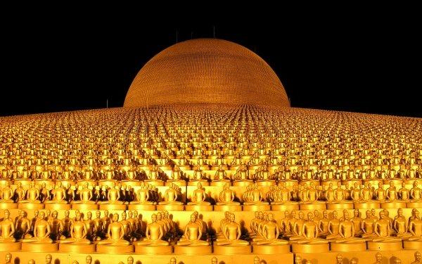Religious Wat Phra Dhammakaya Temples Temple Buddhist Thailand Buddha Bangkok Gold Buddhism HD Wallpaper | Background Image